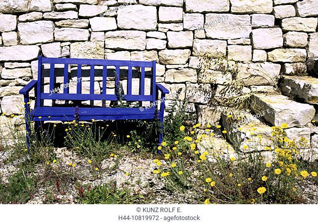 garden bench, bench, seat, blue, dry wall, wall, stair, wild flowers, garden, canton Schaffhausen, Switzerland, Europe