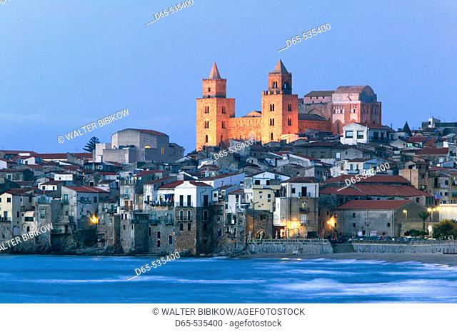 Town View with Duomo from Beach / Evening, Cefalu. Sicily, Italy