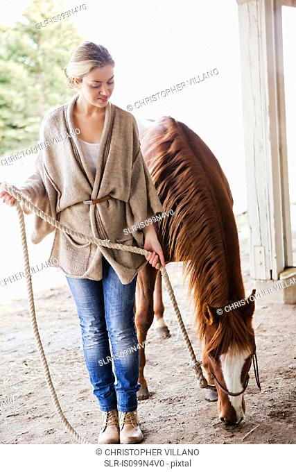 Young woman looking after horse on farm
