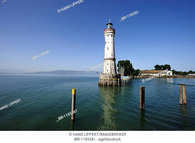 Lighthouse at the port of Lindau at Lake Constance, Bavaria, Germany, Europe