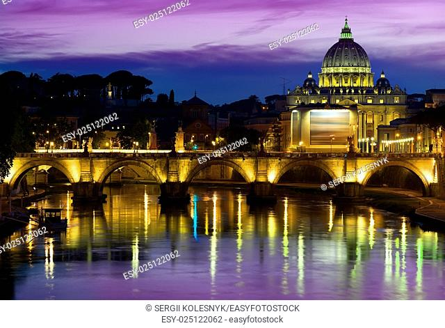 Purple sky over Vatican at sunrise, Italy