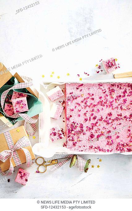 Raspberry and turkish delight coconut ice slab