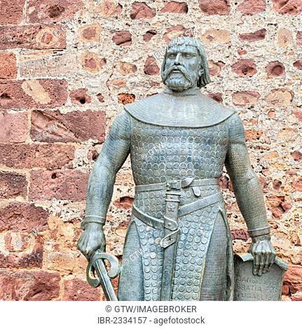 King Dom Sancho I statue, Silves Castle, Algarve, Portugal, Europe