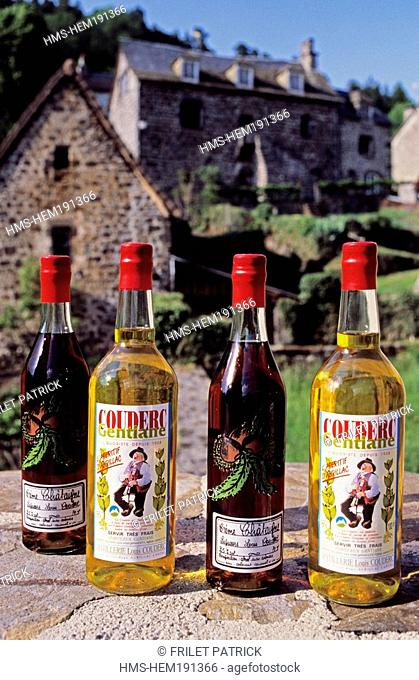 France, Cantal, bottles of Gentiane Couderc, a gentian bitter
