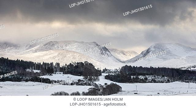 Cairngorms and Lairig ghru pass in the Highlands of Scotland
