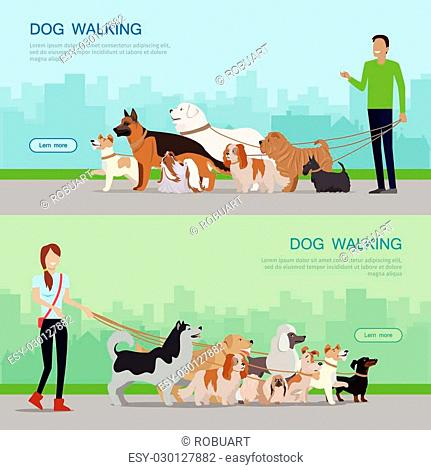 Professional dog walking banners set. Young man and woman walking with group of different breeds dogs on urban background. Dog service
