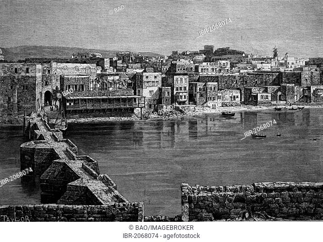 Historical engraving, Sidon in Syria, 1888