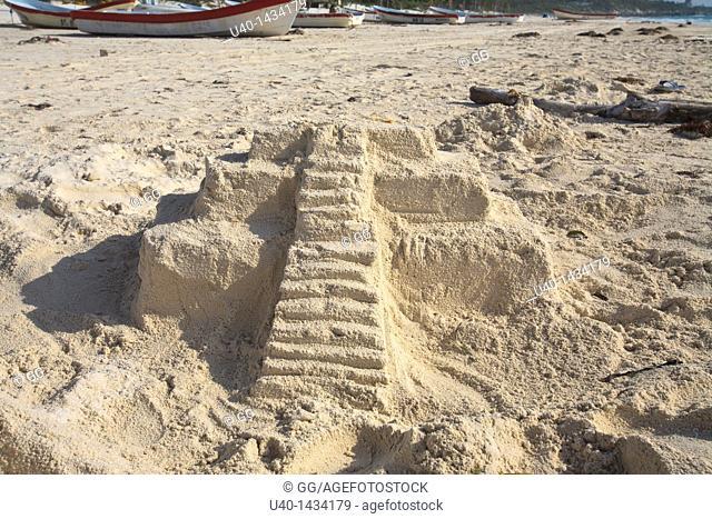 Mexico, Tulum, Mayan Temple sand castle