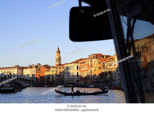 Italy, Venezia, Venice, listed as World Heritage by UNESCO, vaporetto and gondola on the main Grand Canal