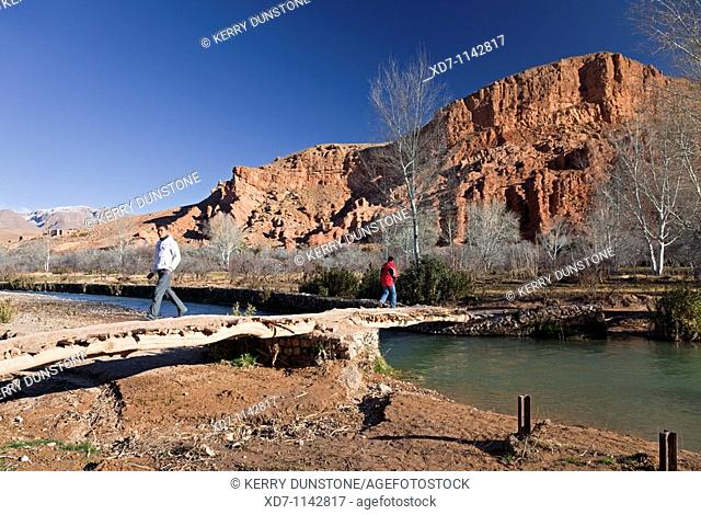 Morocco Dades Valley Dades Gorge with footbridge across the river
