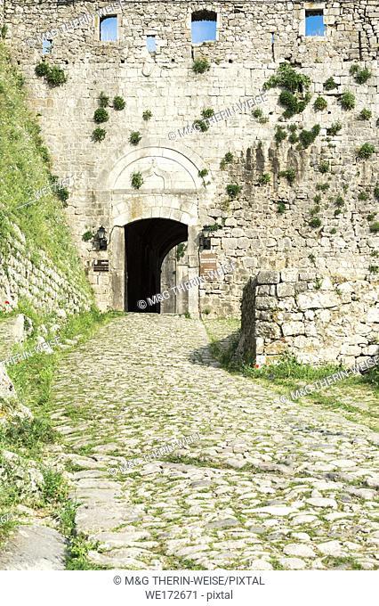 Entrance of Rozafa castle, Shkodra, Albania