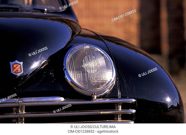 Car, Ursaab  Prototype  , model year 1947, black, vintage car, 1940s, fourties, sedan, detail, details, headlights, headlight, headlamp, headlamps, technics
