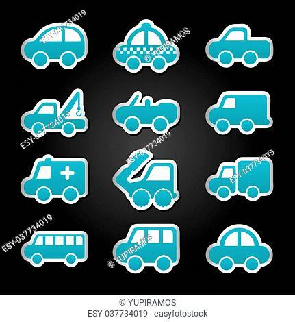 cars design over black background vector illustration