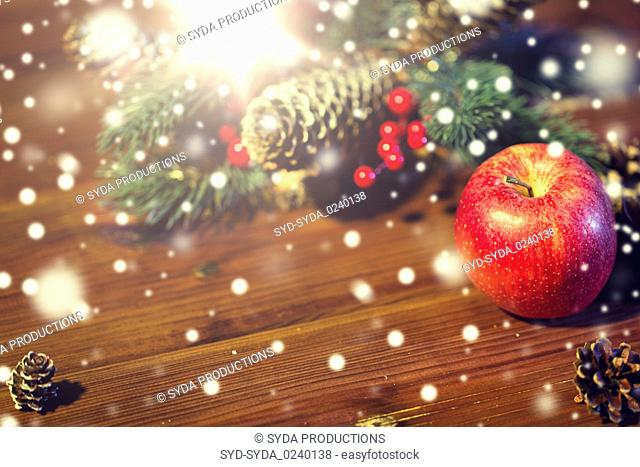 close up of apple with fir decoration on wood