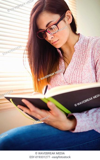 Pretty brunette studying beside window