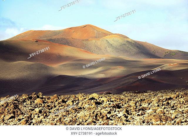 Volcano cones and lava cinder fields of Timanfaya National Park, Lanzarote, Canary Islands. North from LZ-67 Lava Road near Uga