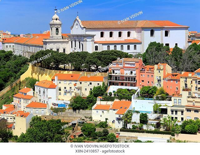 Miradouro de Graca church, from Castle of Sao Jorge (Castelo de Sao Jorge), Lisbon, Portugal