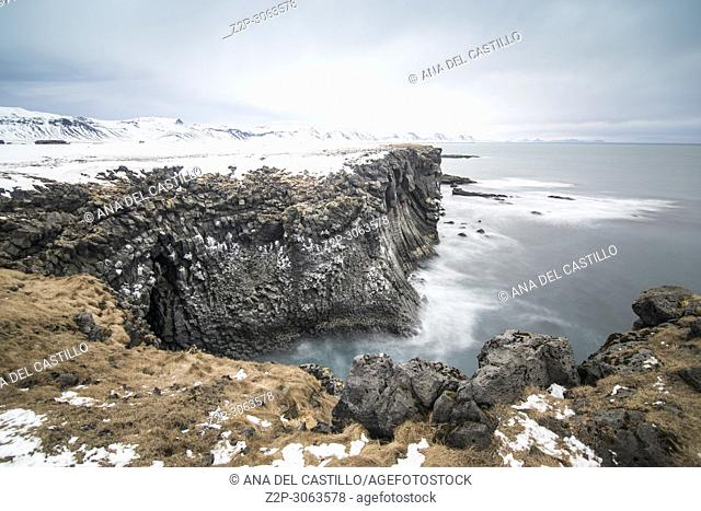 Coast in Arnarstapi Iceland landscape in winter