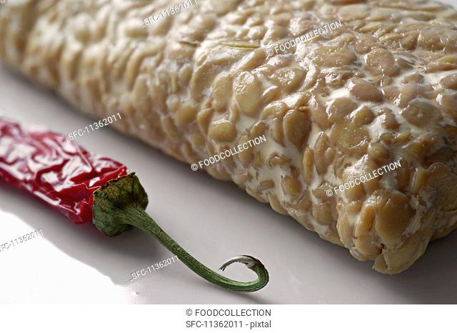 Tempeh (fermented soya beans from Indonesia) and dried chilli pepper