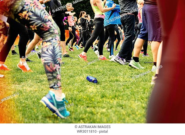Group of people exercising on grass