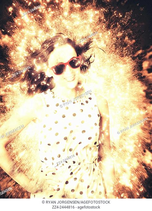 Creative digital artwork of a pinup woman in a bright and electric colourful light explosion. 1960s pinup bombshell