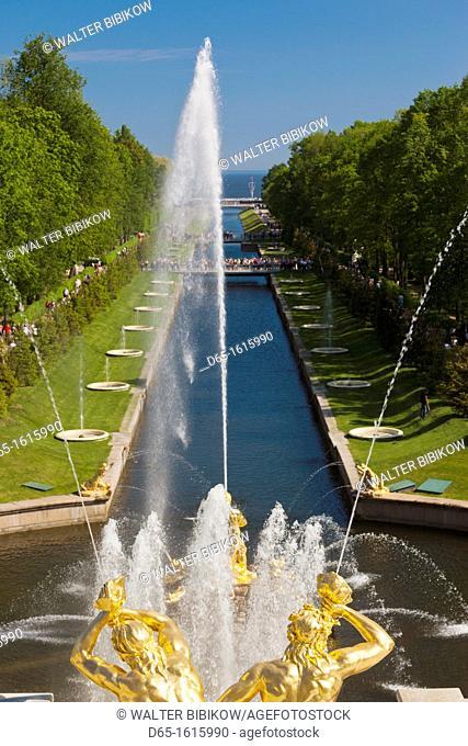 Russia, Saint Petersburg, Peterhof, Grand Cascade fountains