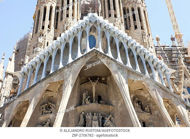 SPAIN, Barcelona: Barcelona in its unconventional art and architecture. The magnanimous work of the famous Architect Antoni Gaudi's fantastical Sagrada Família...