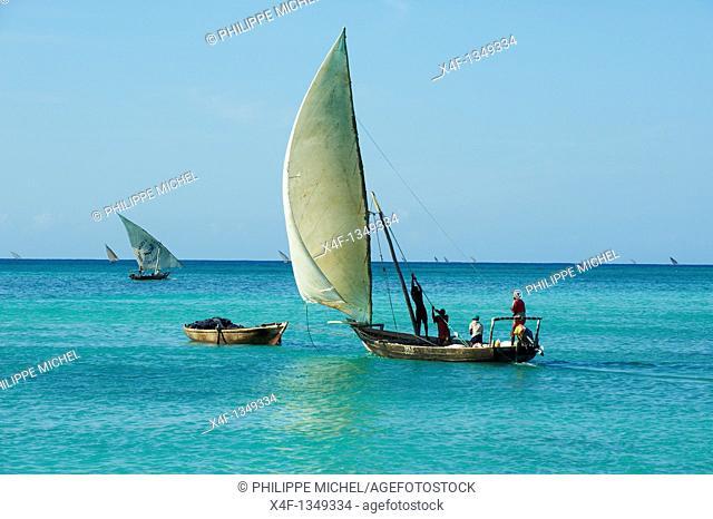 Tanzania, Zanzibar island, Unguja, fishing boat at Nungwi