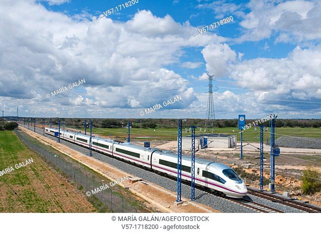 Madrid-Barcelona high-speed train traveling along La Alcarria. Guadalajara province, Castilla La Mancha, Spain