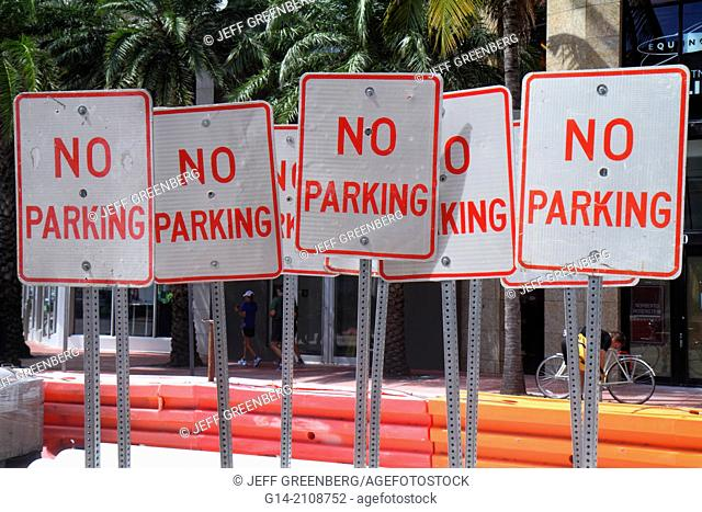 Florida, Miami Beach, no parking, signs, street, collection, many