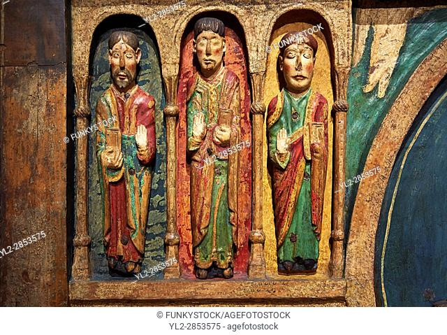 Thirteenth century Romanesque carved and painted altar depicting the Apostles from St. Maria de Taull, Vall de Boi, High Ribagorca, Spain