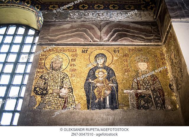 The Comnenus mosaic, Virgin Mary with Jesus, Emperor John II Comnenus and Empress Irene, Hagia Sophia, Istanbul, Turkey