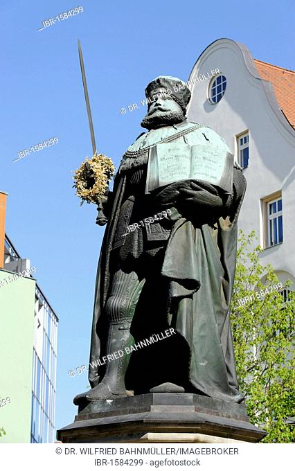 Johann Friedrich the Magnanimous, 1503-1554, prince elector of Saxony, memorial by F. Drake, 1858, market square, Jena, Thuringia, Germany, Europe