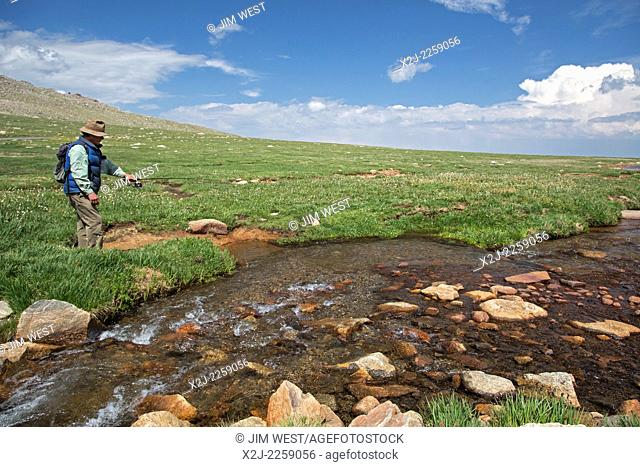 Idaho Springs, Colorado - A man fishes in Bear Creek below the summit of Mt. Evans. Mt Evans is one of the most accessible high peaks in the American west