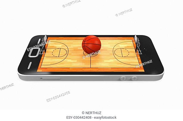 Basketball Court in Mobile Phone isolated on white background. 3D render