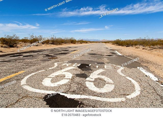 USA, California, Goffs. Route 66 sign painted on the highway