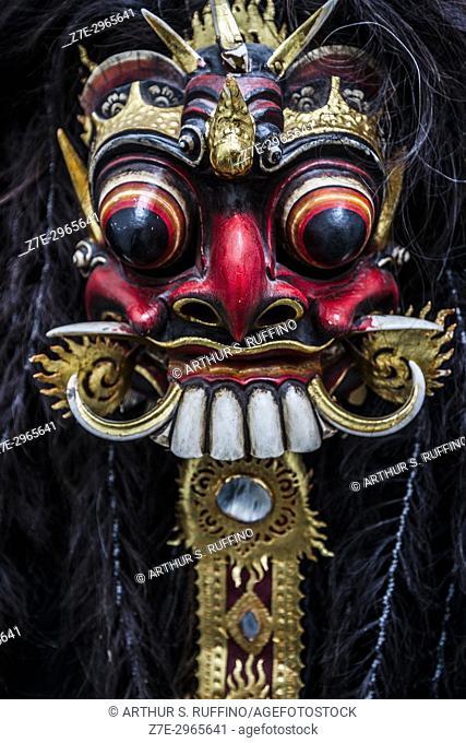 Balinese mask of the evil mythical figure Rangda. Bali, Indonesia