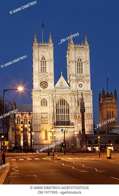 Westminster Abbey at night, Victoria Street,London,England