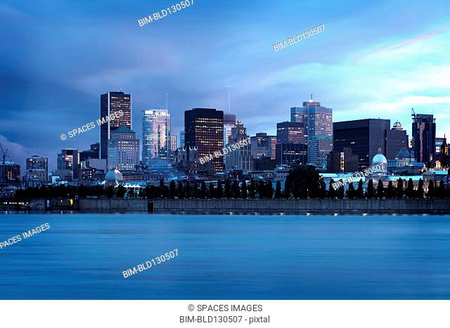 Montreal city skyline on waterfront, Quebec, Canada