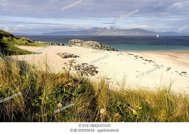 Grasses and sandy beach with views of Mull