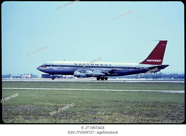 Northwest Airlines, Boeing 720B Commercial Jet on Take-Off, Miami, Florida, USA, 1960's