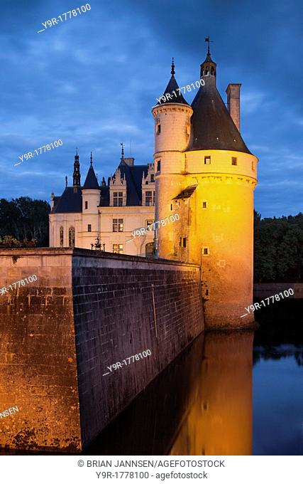 Twilight over the 15th century Guard Tower at Chateau Chenonceau in the Loire Valley, Centre France