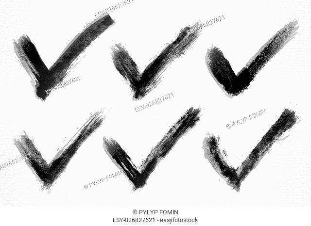Check mark ink sketch on watercolor paper. Aquarelle abstract textured in handmade technique. Isolated shape on white background