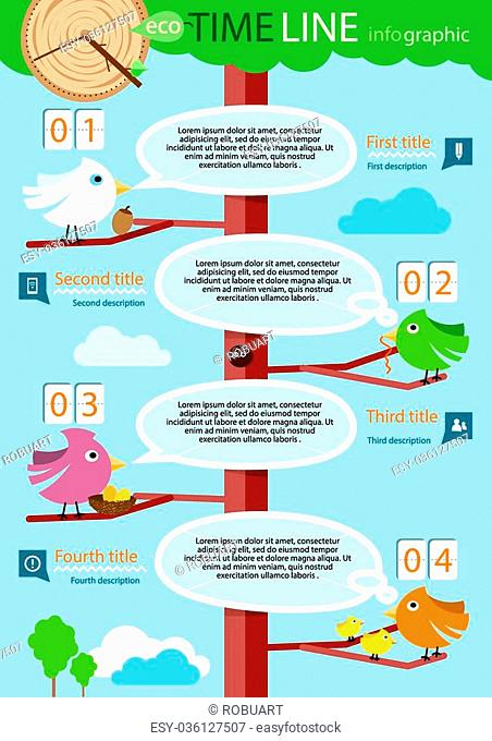 Timeline infographic, four step. The conceptual branch - bird with speech bubble