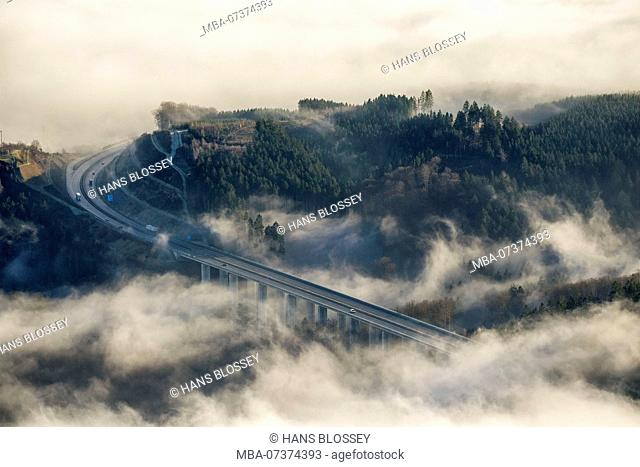 Aerial view of Arnsberg, Oeventrop, A46 motorway bridge in the fog, low-lying clouds, Sauerland