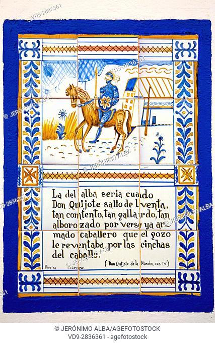 Mosaic of tiles Don Quixote. Venta del Quijote. Puerto Lapice, Ciudad Real province, Castilla La Mancha, Spain Europe