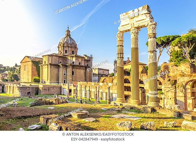 Ruins of the Caesar Forum and the Temple of Venus Genetrix in Rome, Italy