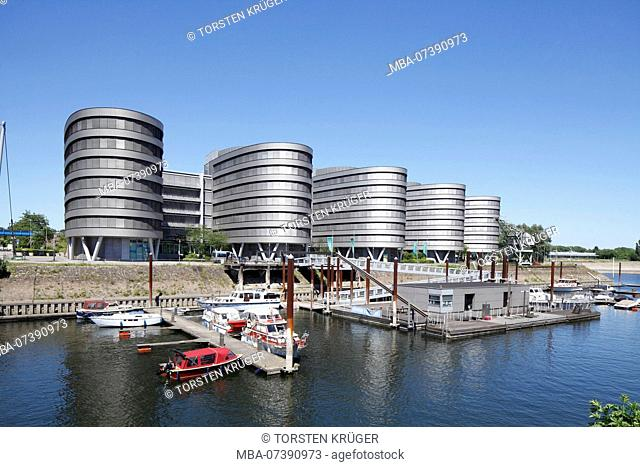 Marina and office building '5 Boats', Innenharbour, Duisburg, Ruhr area, North Rhine-Westphalia, Germany, Europe