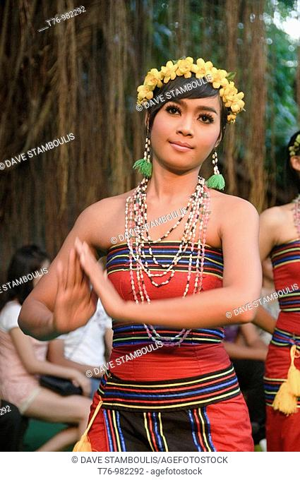 model with traditional dress from the Kroeng minority in Rattanakiri Province in Cambodia