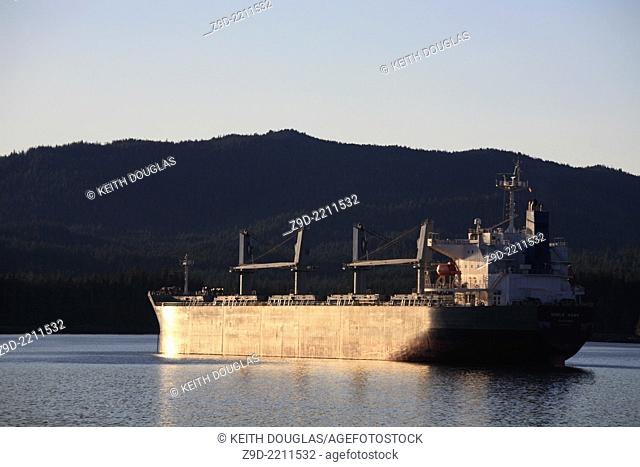 Cargo ship at anchor in harbour, Prince Rupert, BC